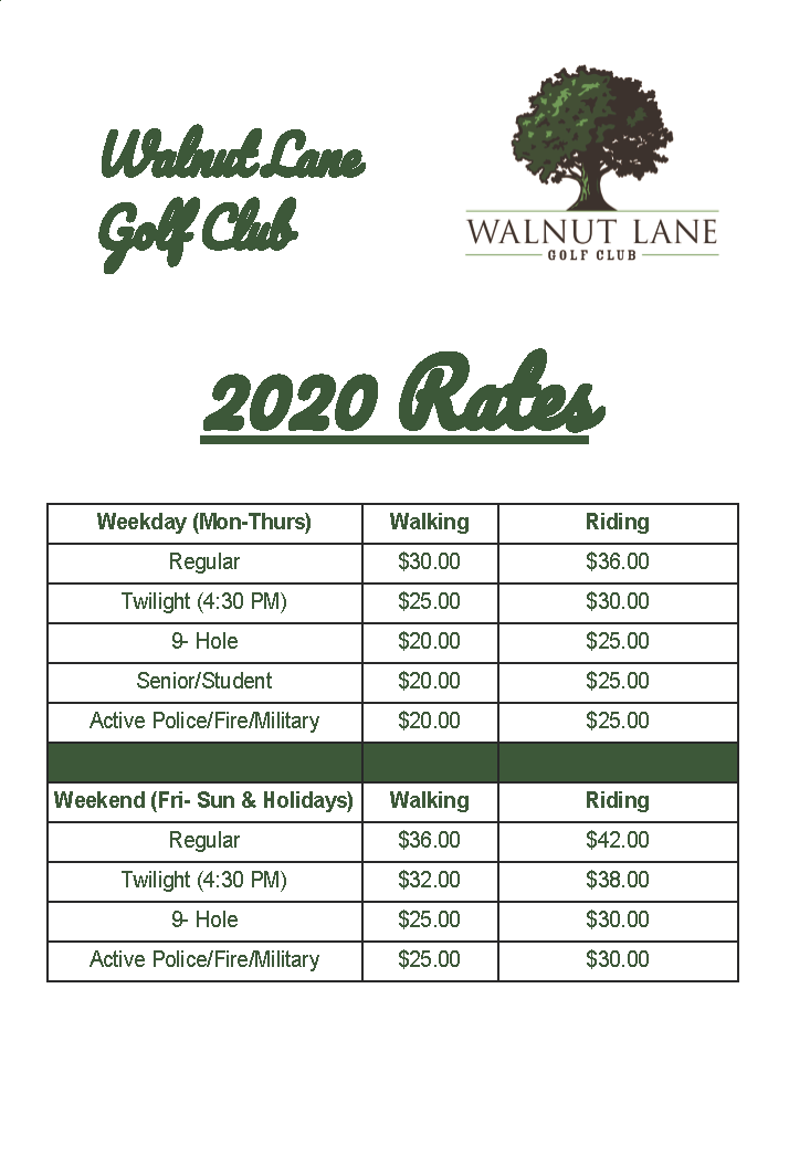 Walnut Lane 2020 Rate Board final